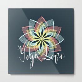 Pink Yellow Blue Yoga Love Mandala, Boho Style Metal Print