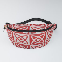 Mid Century Modern Atomic Check 140 Red and Gray Fanny Pack