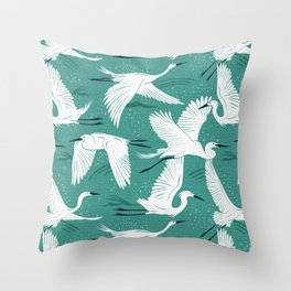 Soaring Wings - Teal Green Throw Pillow
