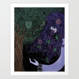 Purpled Haired Girl Art Print