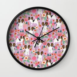 Papillon pet friendly small cute dog breed must have gift for dog lover florals dog pattern print Wall Clock