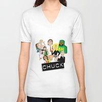 chuck V-neck T-shirts featuring CHUCK by Seedoiben