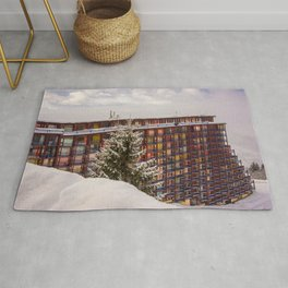 Mountain architecture colorful Rug