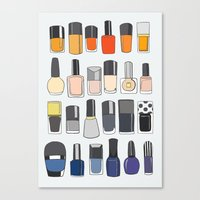 nail polish Canvas Prints featuring my nail polish collection by uzualsunday