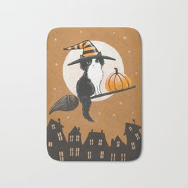 Black and White Witch Cat Bath Mat
