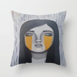 Melancholy Gold Throw Pillow