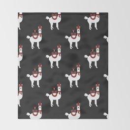 Christmas Llama Pattern on black Throw Blanket