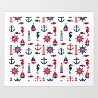 navy Art Prints featuring Navy by Valmo. Surface pattern design by Valeria