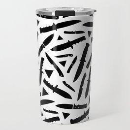 Survival Knives Pattern - Black and White Travel Mug
