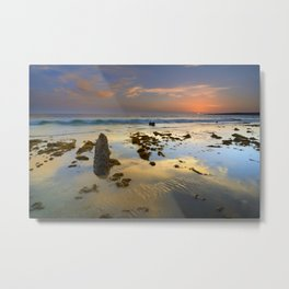 Sunset reflections at the sea. Tarifa beach Metal Print