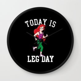 Today Is Leg Day Ariel Little Mermaid Run Gym Wall Clock