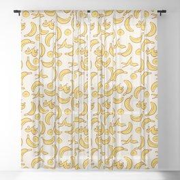 Yellow Banana Pattern Sheer Curtain