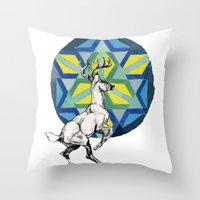 stag Throw Pillows featuring STAG by The Traveling Catburys