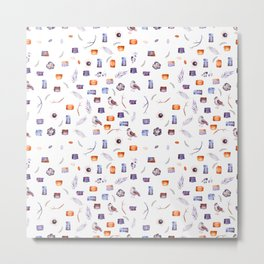 lovely splotchy watercolour pattern with birds and flowers Metal Print