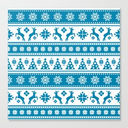 Christmas Holiday Nordic Pattern Cozy Canvas Print