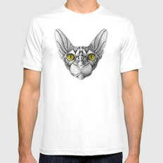 Ornate Sphynx Cat Mens Fitted Tee White MEDIUM