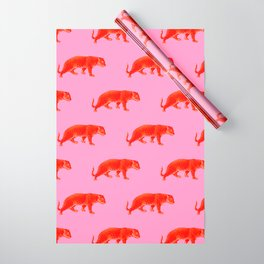 Vintage Cheetahs in Coral + Red Wrapping Paper