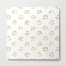 Gold Spiral Sun Pattern Metal Print