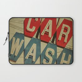 Retro Car Wash Sign Laptop Sleeve