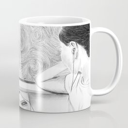 Illustration of a girl looking at the starry sky outside the window of a train  Coffee Mug