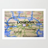 london map Art Prints featuring London Map by Brian Raggatt