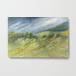 Precious Green Watercolor Landscape Metal Print