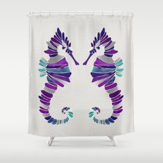 Seahorse – Purple & Silver Shower Curtain