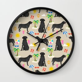 Black Lab labrador retriever dog breed beach summer vacation dog gifts Wall Clock