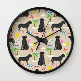 Black Lab labrador retriever dog breed beach summer vacation dog gifts Wall Clock