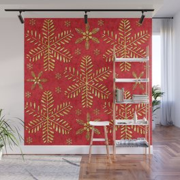 DP044-2 Gold snowflakes on red Wall Mural