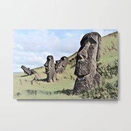 Chile Easter Island Moais Ahu Tongariki Artistic Illustration Colored Sketch Metal Print