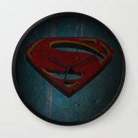 man of steel Wall Clocks featuring Superman - Man of Steel by ochre7