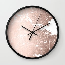 Amsterdam Rosegold on White Street Map Wall Clock
