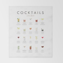 Cocktail Chart - Classic Cocktails Throw Blanket