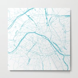 Paris France Minimal Street Map - Turquoise Blue and White Metal Print