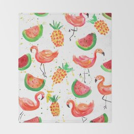Flamingo Watermelon Throw Blanket