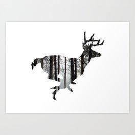 Deer forest winter silhouette Art Print