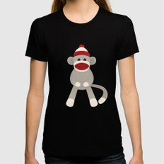 Sock Monkey SMALL Womens Fitted Tee Black