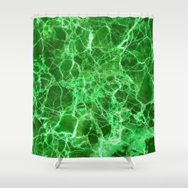 Emerald Green Marble Shower Curtain