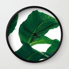 Green Leafs (Color) Wall Clock