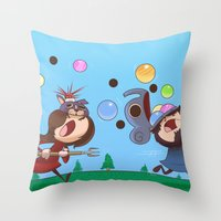 animal crossing Throw Pillows featuring Animal Crossing Grumps by Steven Ray Brown