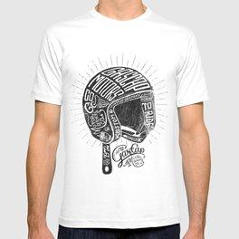 Gascap Motors, Ride it Right Helmet! vintage motorcycles T-shirt