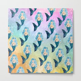 Rainbow Mermaid Bubbles Metal Print