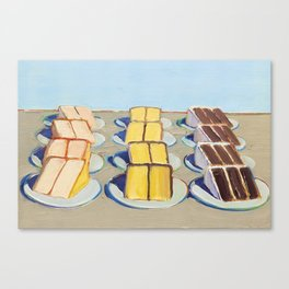 """Classical Masterpiece """"Cake Rows"""" by Wayne Thiebaud,1920 Canvas Print"""