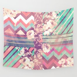 Retro Pink Turquoise Floral Stripe Chevron Pattern Wall Tapestry