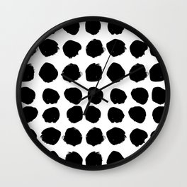 Florence - black and white minimal modern abstract home decor art india ink brushstroke boho trendy Wall Clock
