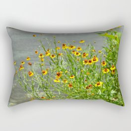 yellow flowes by the river Rectangular Pillow