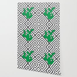 Cactus - Abstract geometric pattern - gray and white. Wallpaper