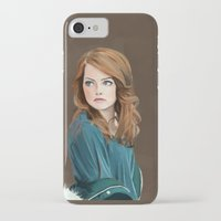 emma stone iPhone & iPod Cases featuring Emma Stone by Artsy Rosebud