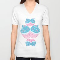 cupcake V-neck T-shirts featuring Cupcake by Inbeeswax